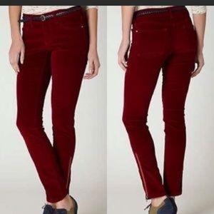 Pilcro Stet Wine Corduroy Ankle Zip Pants